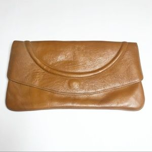 Vintage Brown Leather Clutch Bag